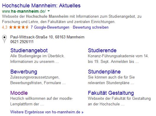 """Abbildung 2 – Suchergebnis zu """"Hochschule Mannheim"""" mit Rich Snippets"""