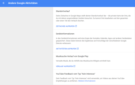 Google andere Aktivitäten